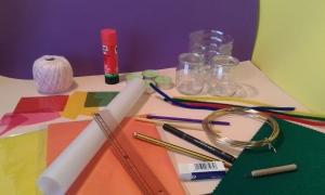Material necesario para hacer farolillos con envases reciclados