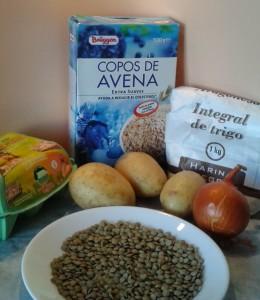 Ingredientes para preparar albóndigas de lentejas
