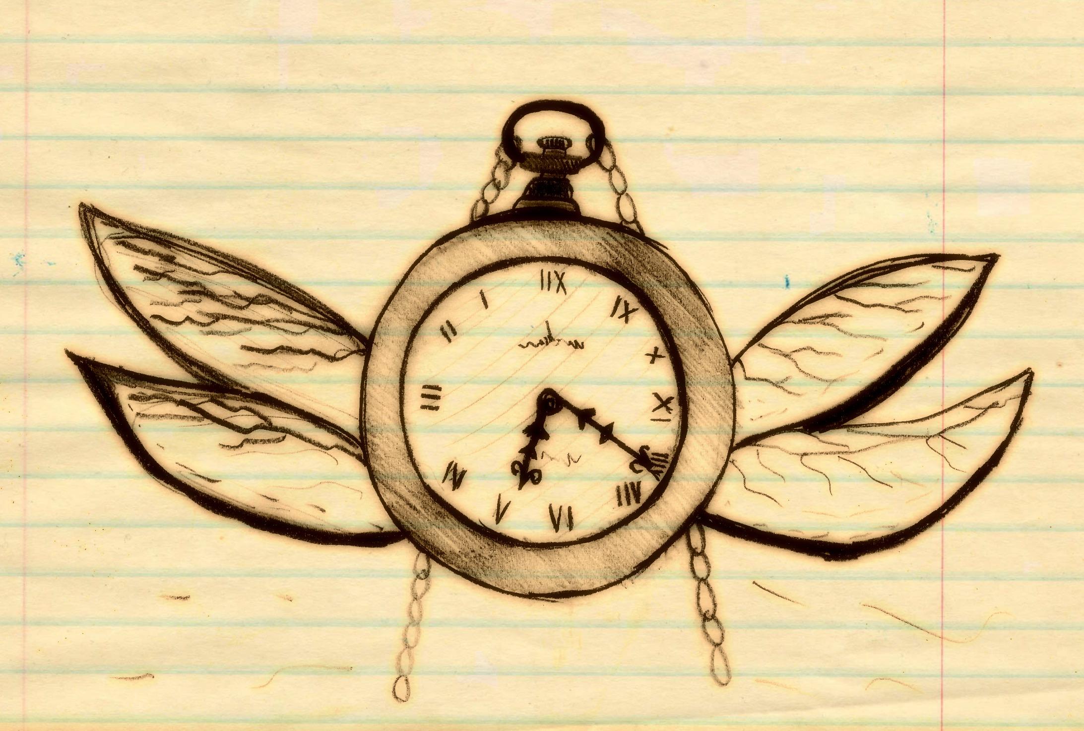 Dibujo alegórico: el tiempo se va volando
