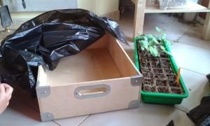 Cajón de madera reciclado para nuestro huerto urbano