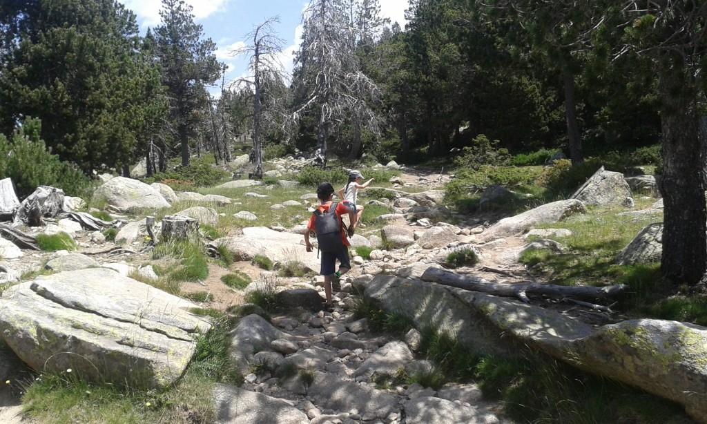Niños caminando por la montaña