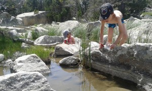 Disfrutando de un lago natural en plena naturaleza