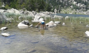 Intentando pescar en el lago