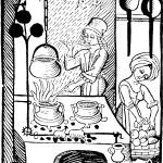 Grabado de cocina medieval
