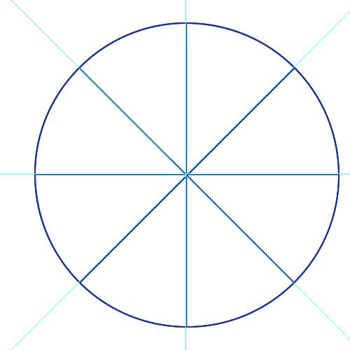 Círculo dividido en 8 partes iguales