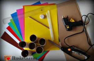 Materiales y herramientas para hacer las letras de cartón