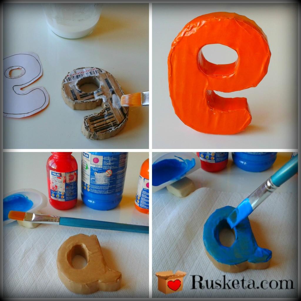 Decoración de las letras con papel charol y con témperas escolares