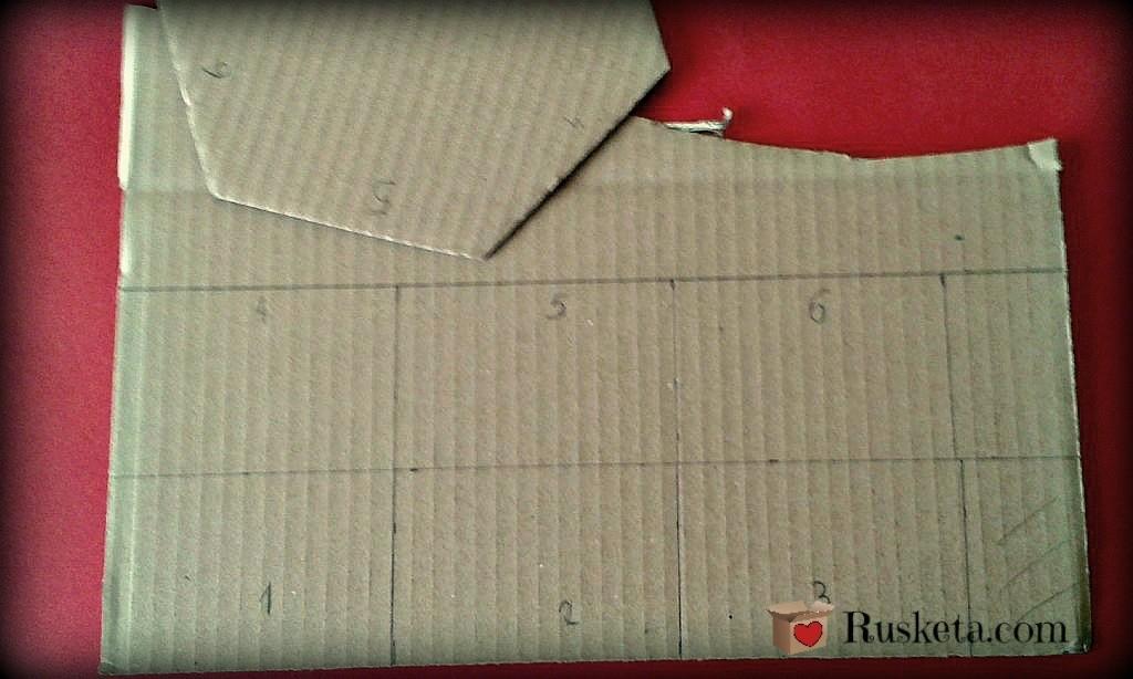 Piezas de cartón para hacer los laterales de la bombonera