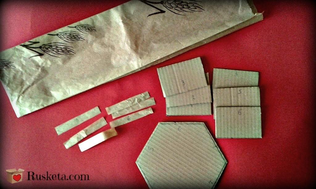 Los refuerzos para la bombonera hechos con papel kraft