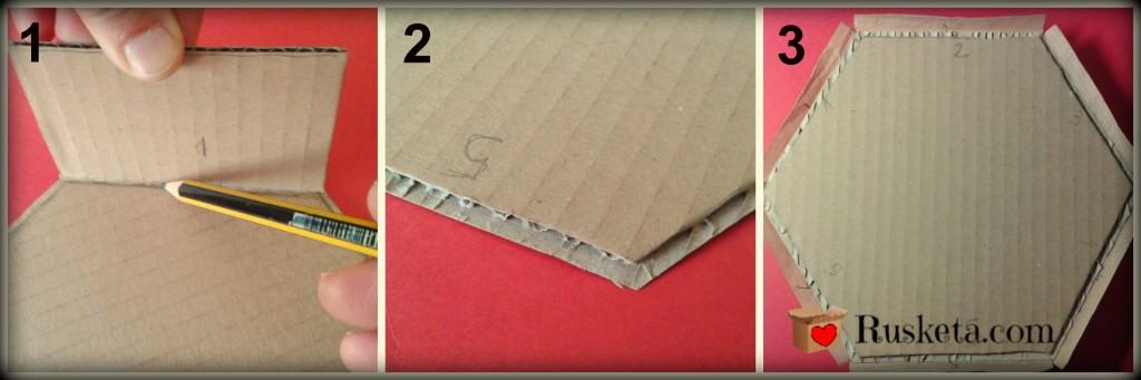 Preparación de la base de cartón de la bombonera