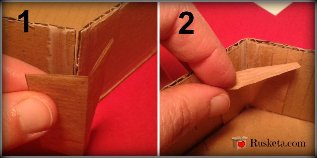 Refuerzos de papel kraft en las esquinas de la bombonera