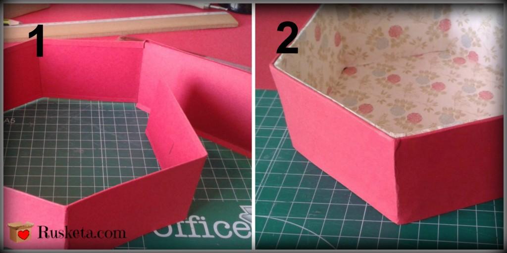 Decoración del lateral exterior de la bombonera de cartón