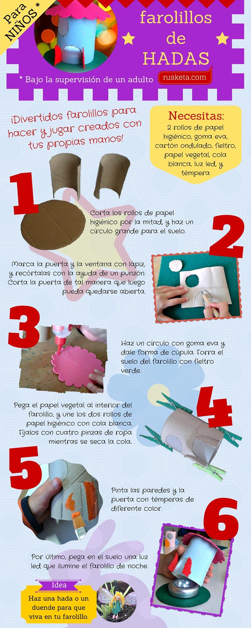 Infografía sobre cómo hacer un farolillo para hadas con cartón y una luz led