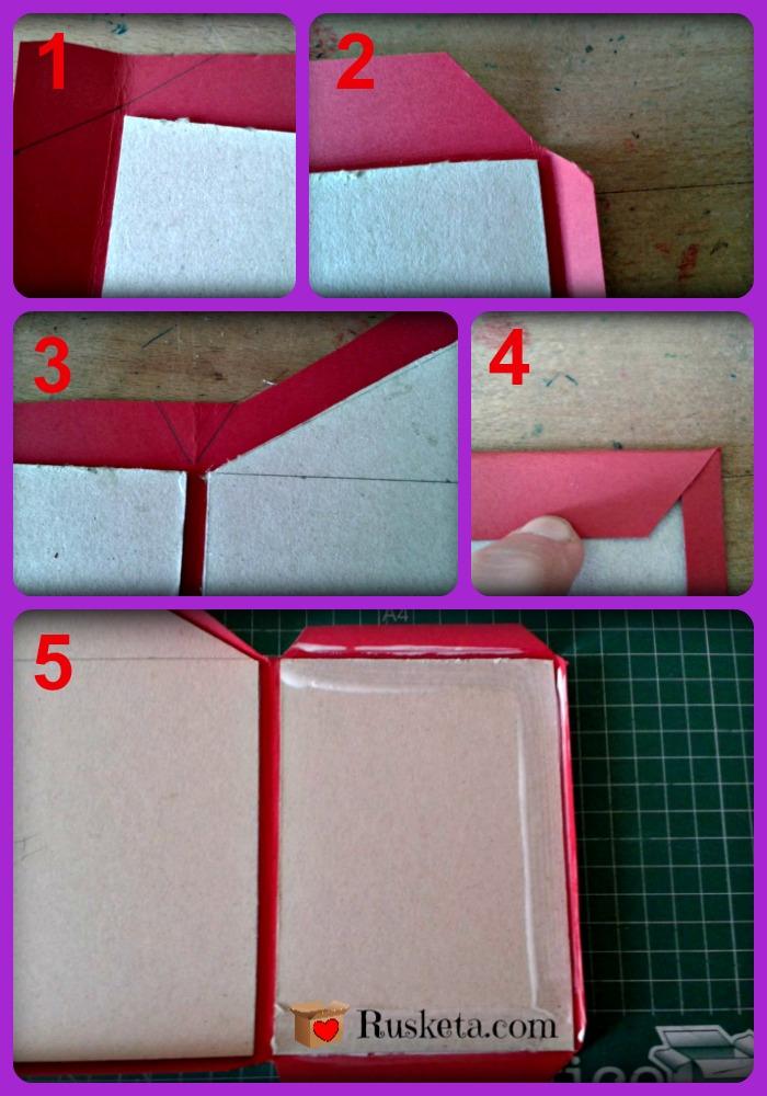 Cómo pegar la cartulina en las piezas de cartón gris