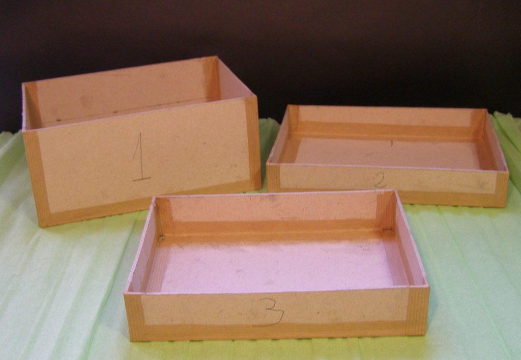 Las tres Cajas Básicas Rusketa (CBR) necesarias para hacer un costurero