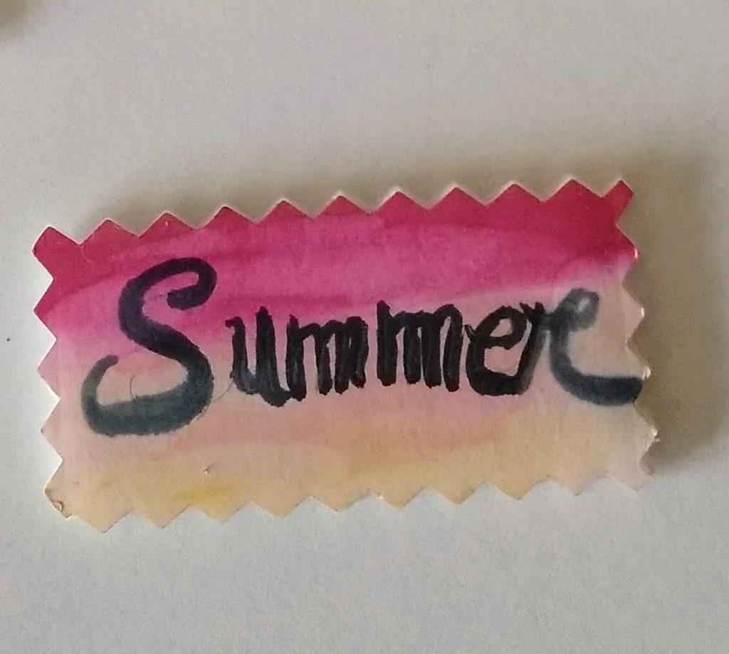Sticker de cartón pluma con la inscripción Summer