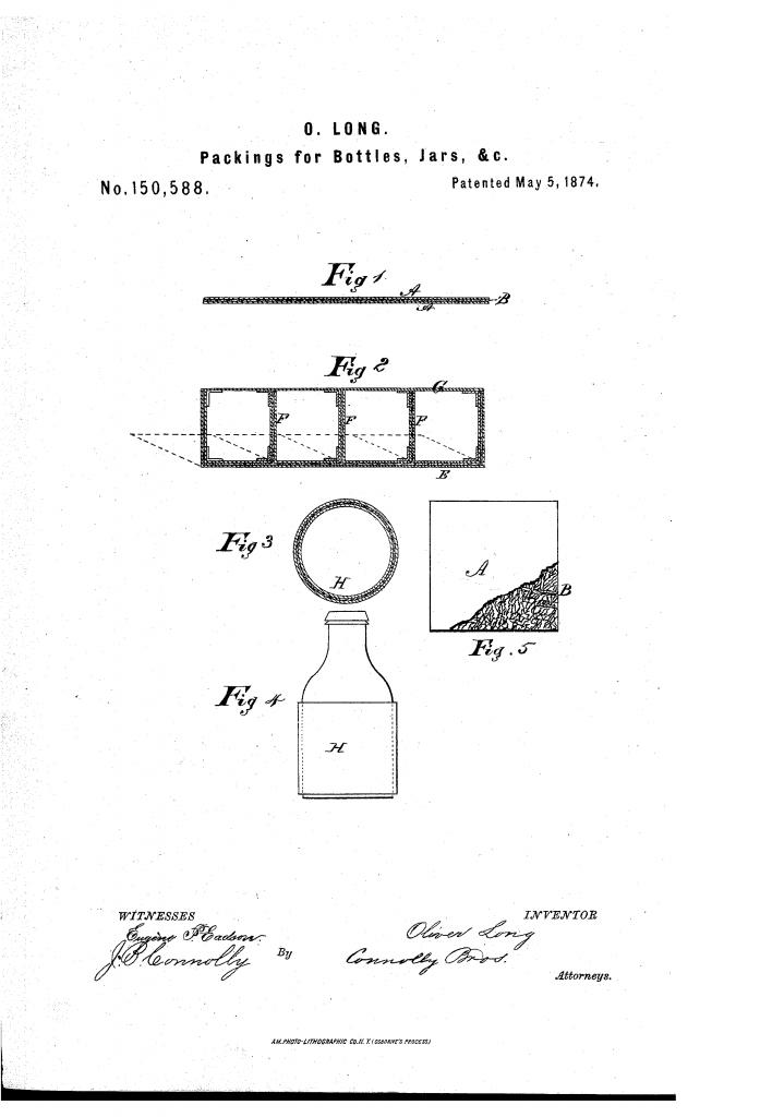 El origen del cartón corrugado se aprecia en el dibujo de la patente de Oliver Long