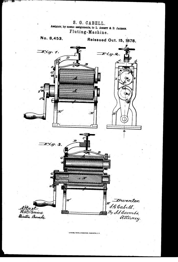 Dibujo de la patente de Samuel C. Cabell