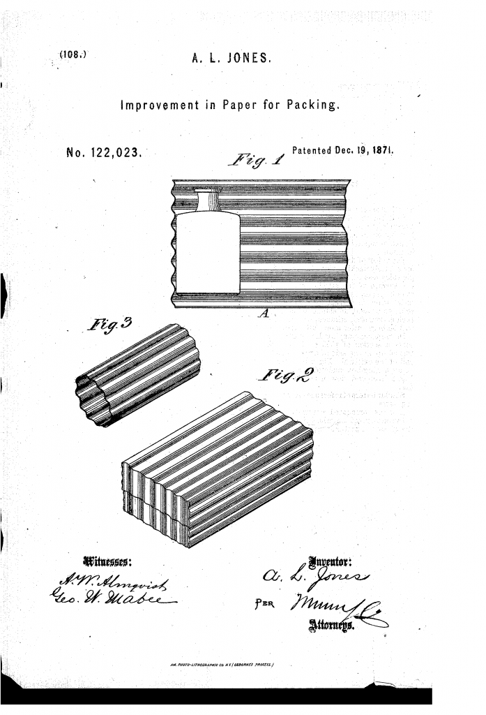 Dibujo de la patente de Albert L. Jones, una etapa importante en la historia del cartón