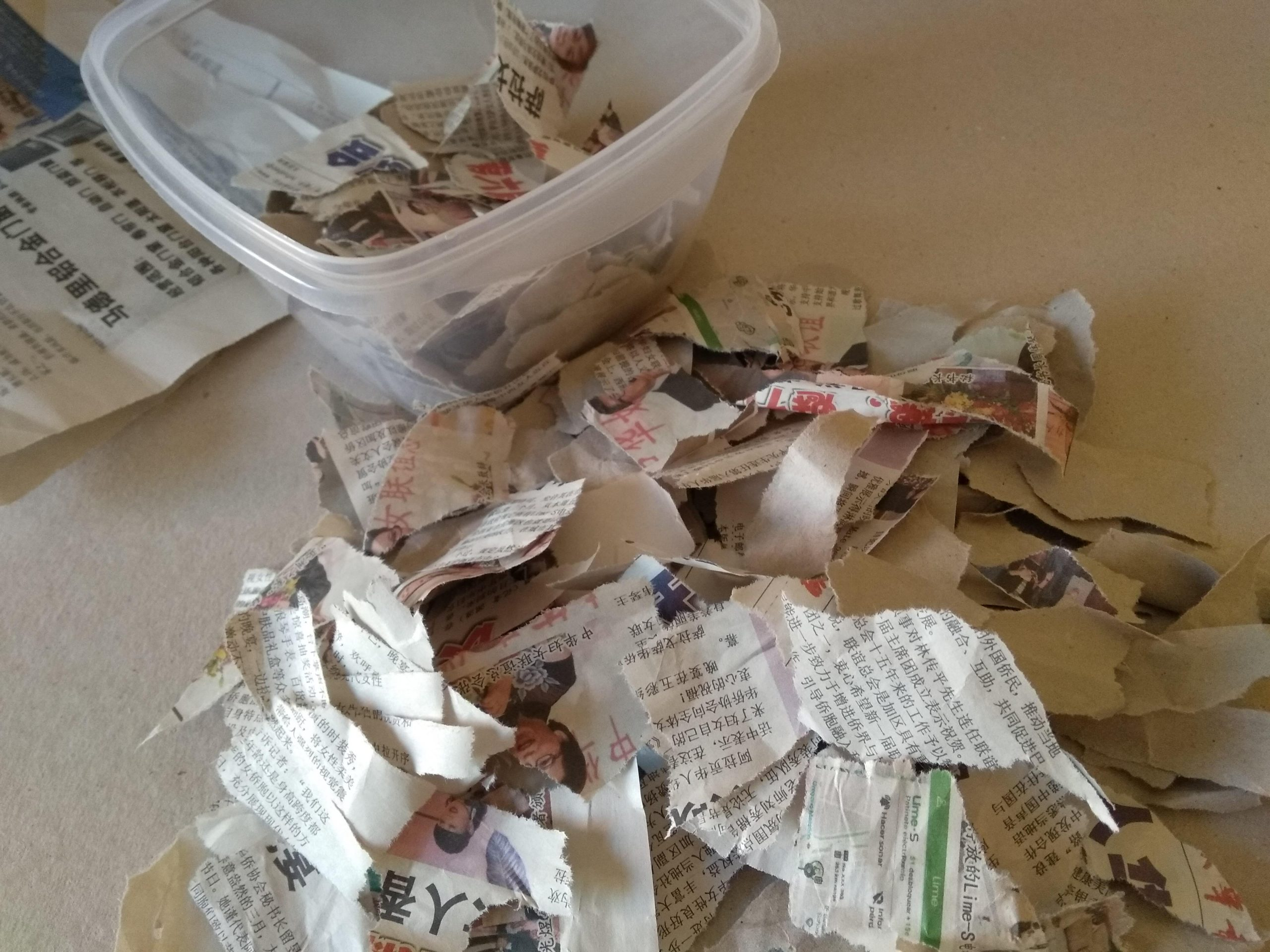 Trozos de papel periódico y de estraza para realizar pasta de papel