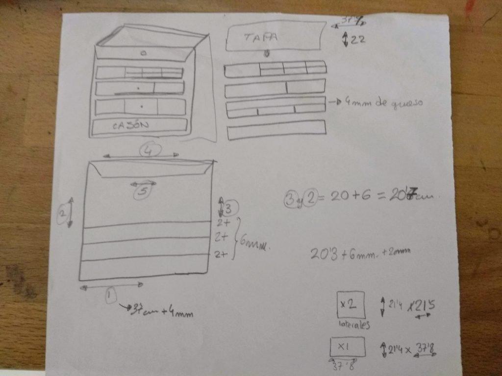Esbozo o boceto para un proyecto de cartón