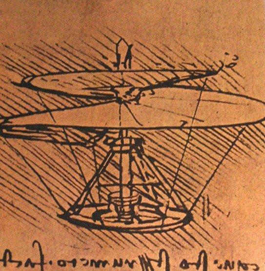 Boceto de un proyecto de helicoptero de Leonardo da Vinci