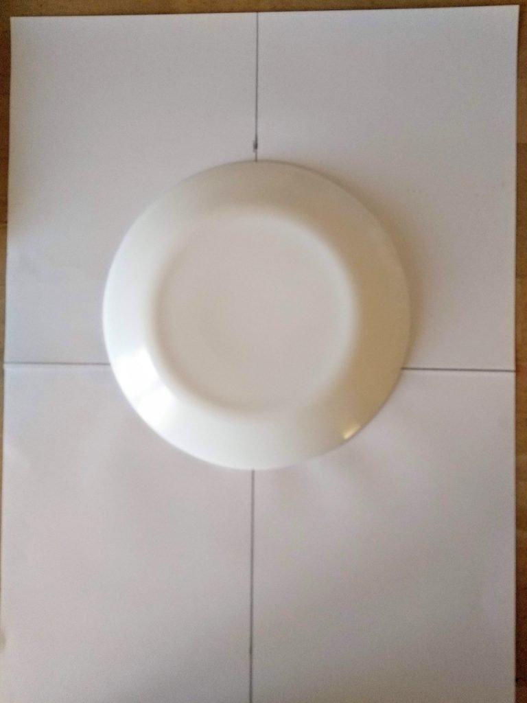 Posición del plato para marcar el cráneo de la calavera