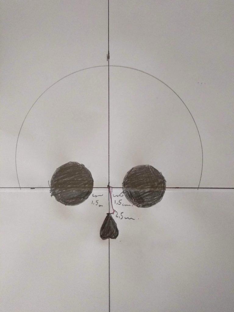 Dibujo de las cuencas de los ojos y la nariz de la plantilla de Calavera Garbancera