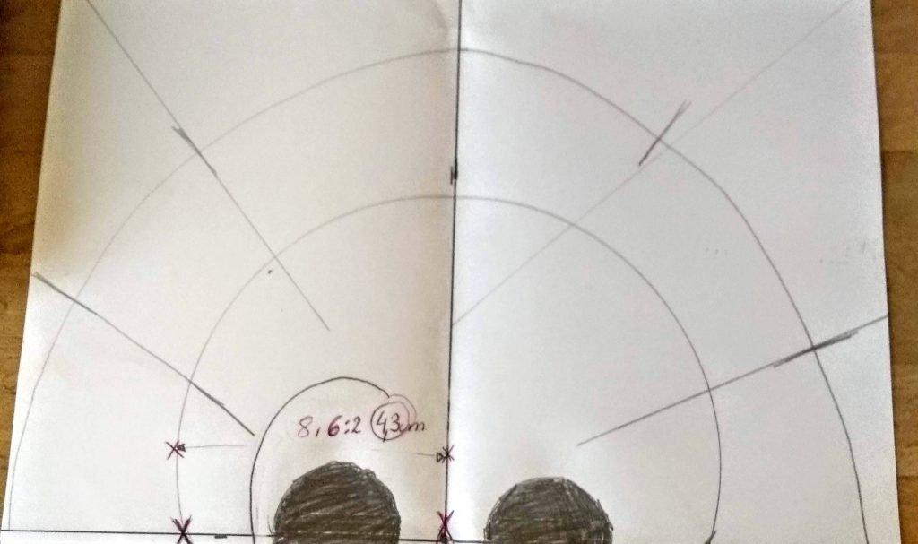 Diagrama del molde de la parte posterior del cráneo de la calavera mexicana